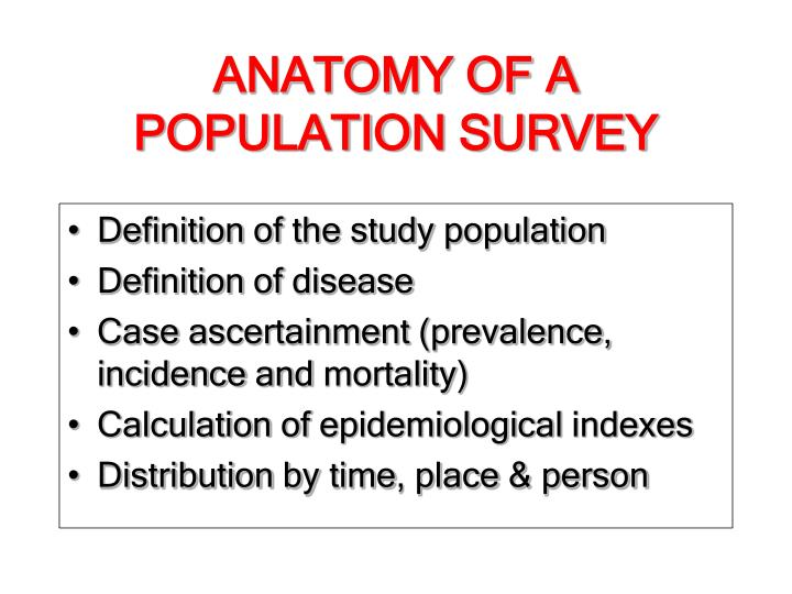 ANATOMY OF A   POPULATION SURVEY