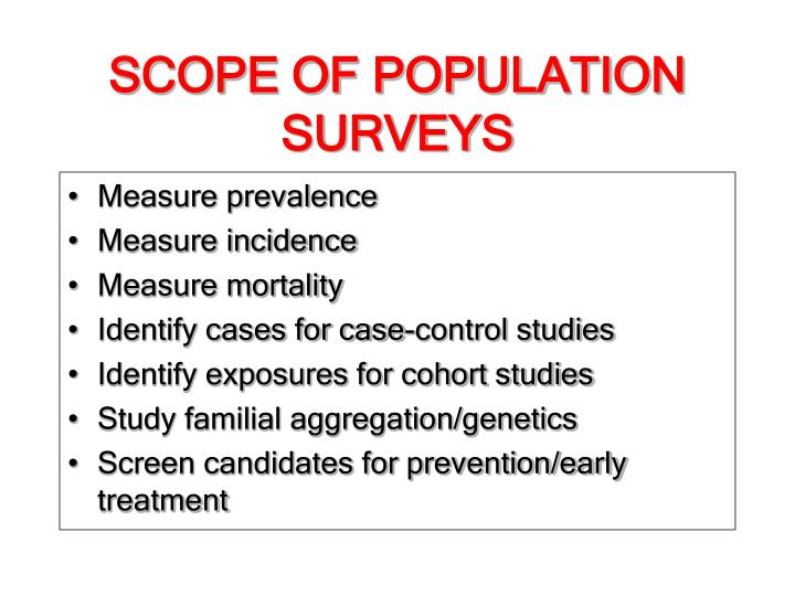 SCOPE OF POPULATION SURVEYS