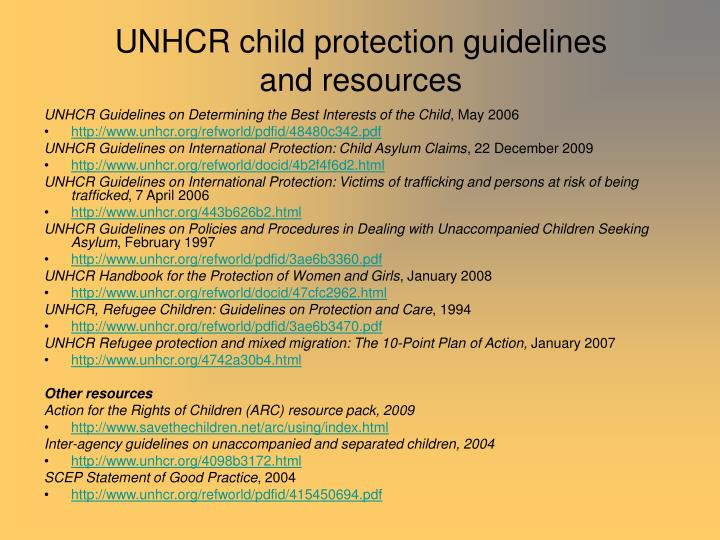 UNHCR child protection guidelines