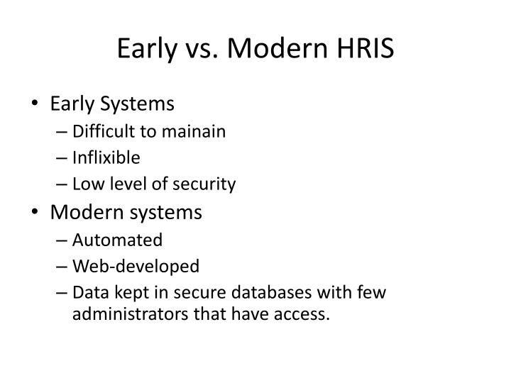 Early vs. Modern HRIS