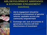 aid development assistance economic engagement sanctions