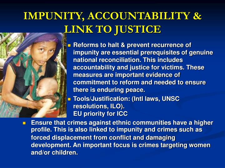 IMPUNITY, ACCOUNTABILITY & LINK TO JUSTICE