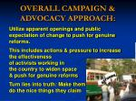 overall campaign advocacy approach