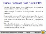 highest response ratio next hrrn