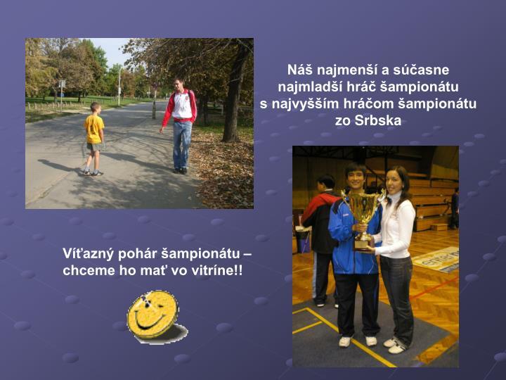 Náš najmenší a súčasne najmladší hráč šampionátu         s najvyšším hráčom šampionátu  zo Srbska