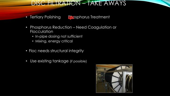 Disc Filtration – Take Aways