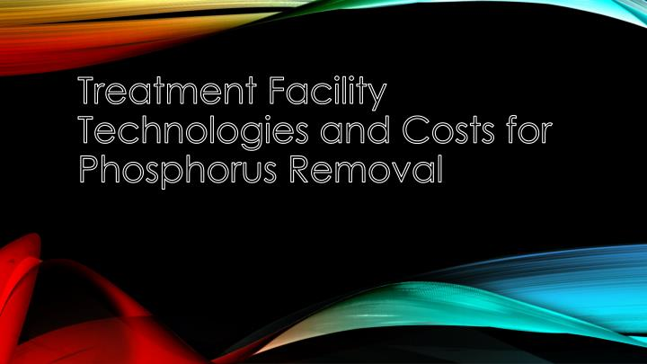 Treatment Facility Technologies and Costs for Phosphorus Removal