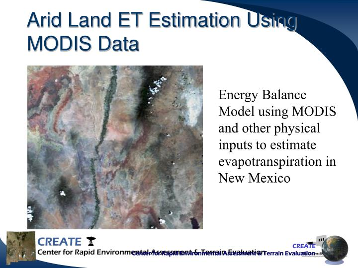 Arid Land ET Estimation Using MODIS Data