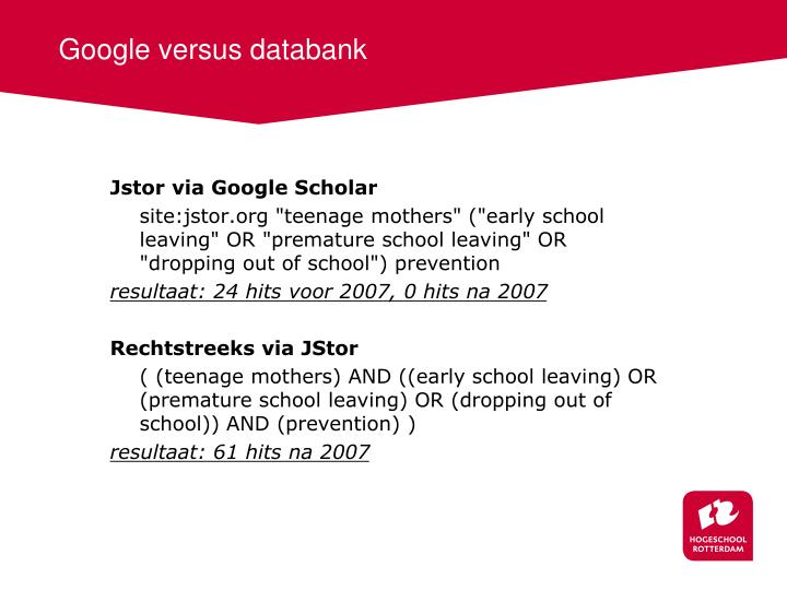 Google versus databank
