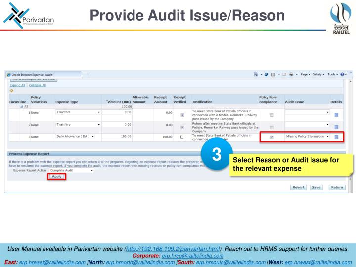 Provide Audit Issue/Reason