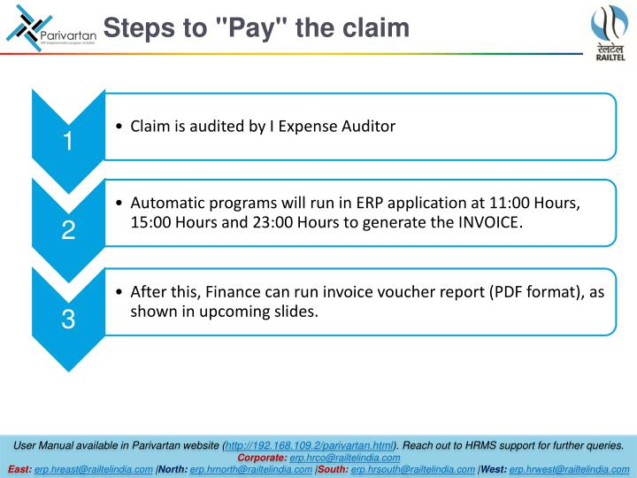 "Steps to ""Pay"" the claim"