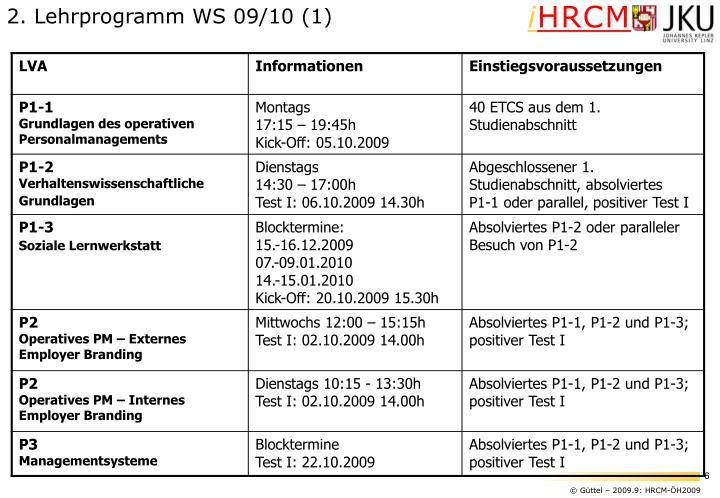 2. Lehrprogramm WS 09/10 (1)