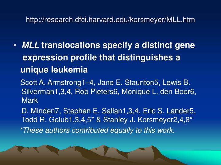 http://research.dfci.harvard.edu/korsmeyer/MLL.htm