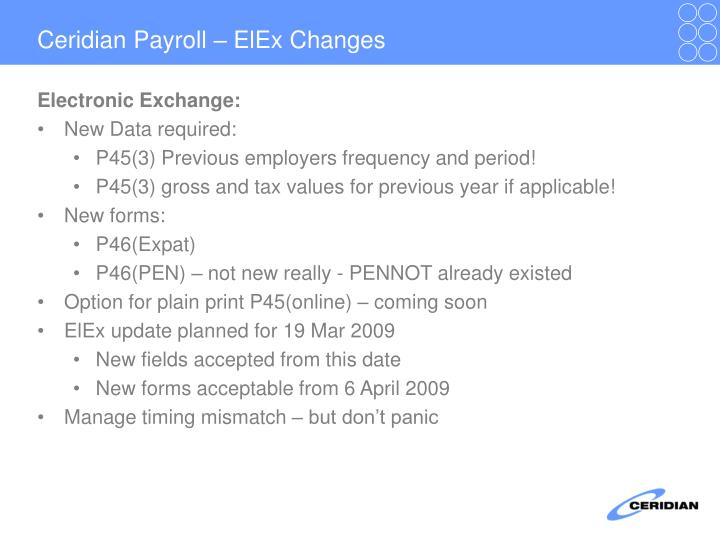 Ceridian Payroll – ElEx Changes