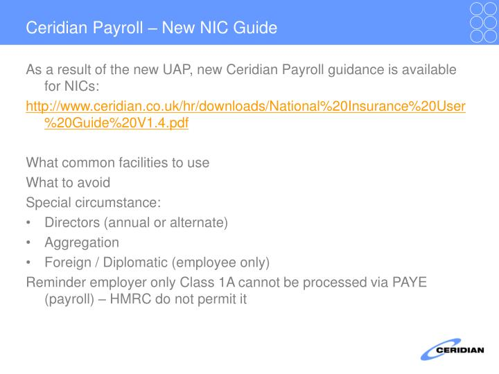 Ceridian Payroll – New NIC Guide