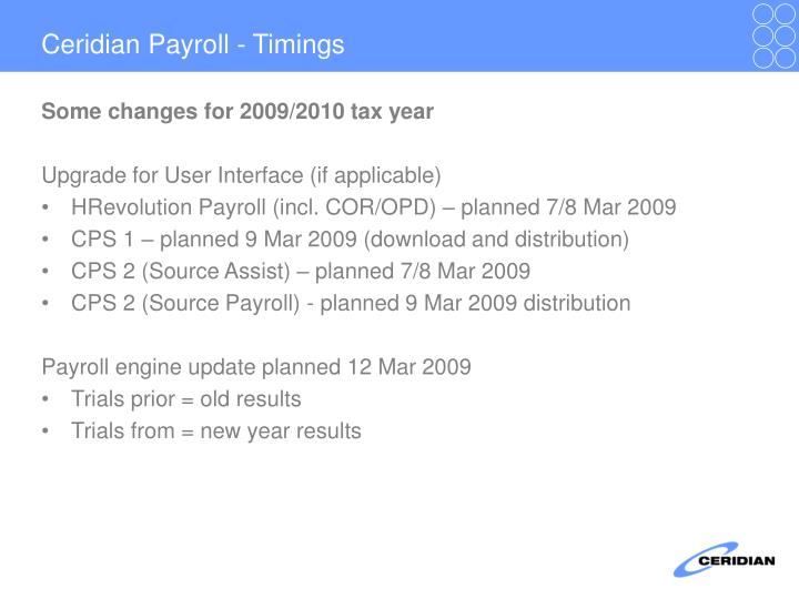 Ceridian Payroll - Timings