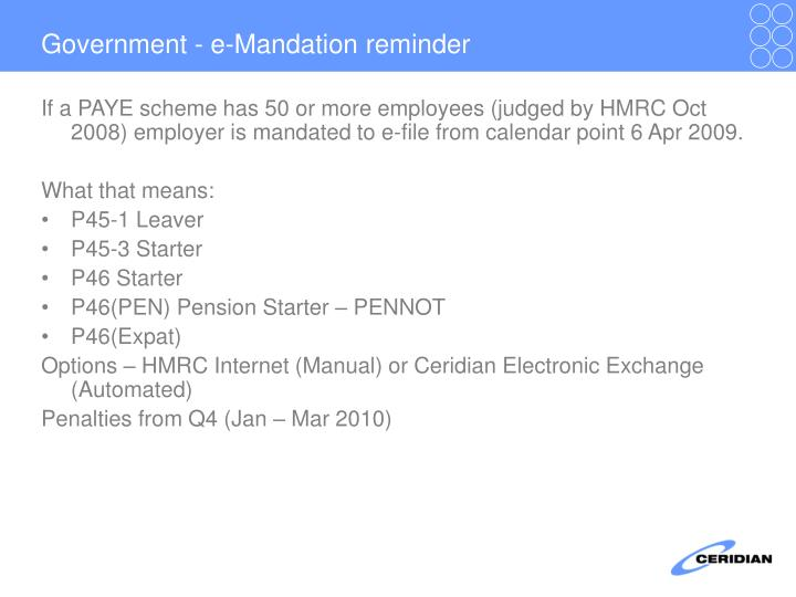 Government - e-Mandation reminder