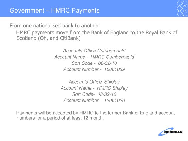 Government – HMRC Payments