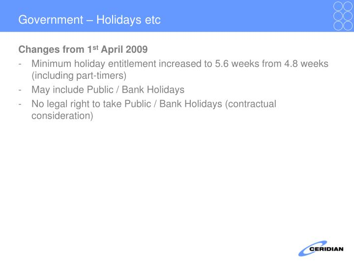 Government – Holidays etc
