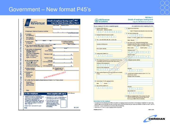 Government – New format P45's