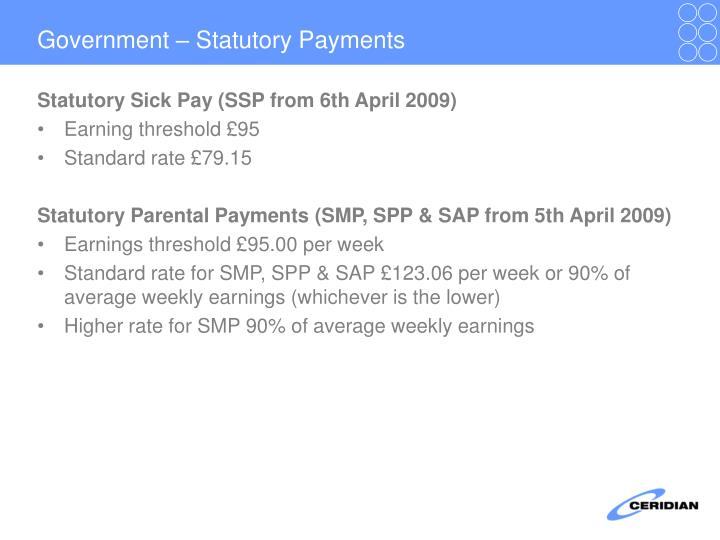 Government – Statutory Payments