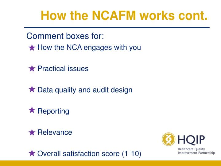 How the NCAFM works cont.