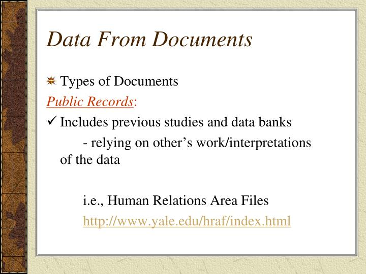 Data From Documents