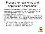 process for registering and application assessment