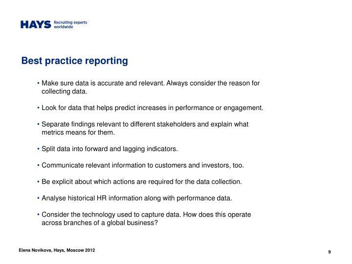 Best practice reporting