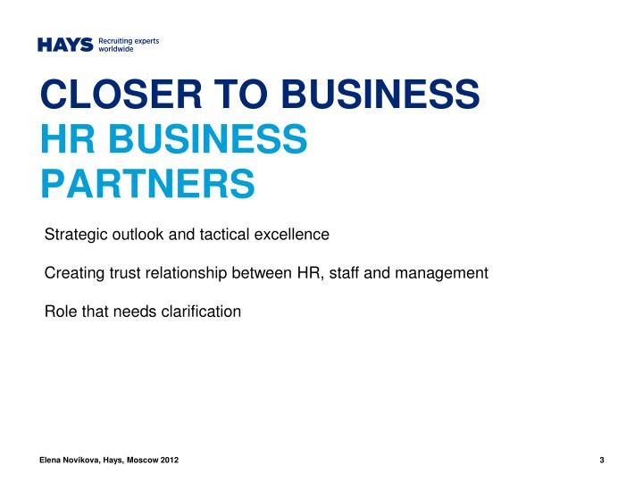 Closer to business hr business partners