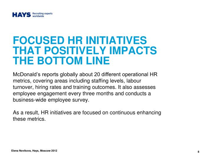 FOCUSED HR INITIATIVES THAT POSITIVELY IMPACTS THE BOTTOM LINE