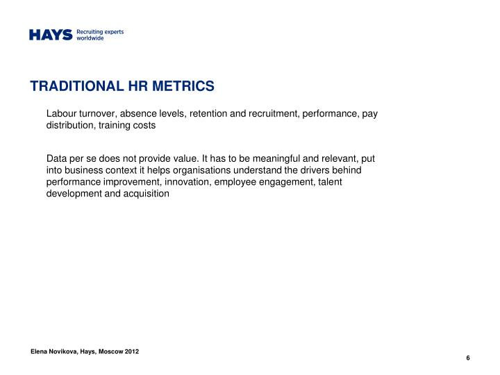 TRADITIONAL HR METRICS