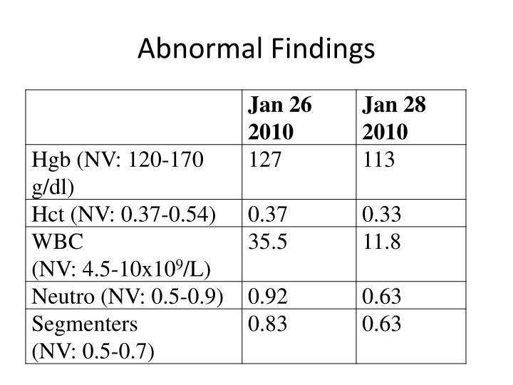 Abnormal Findings