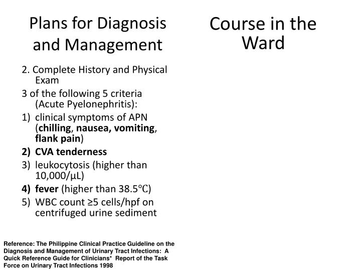 Plans for diagnosis and management1
