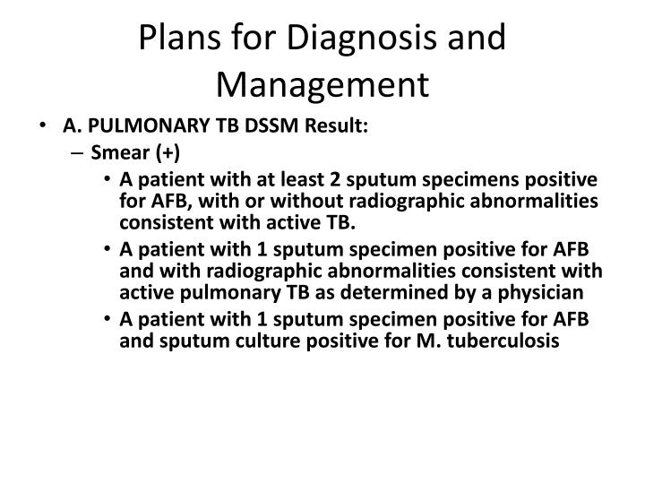 Plans for Diagnosis and Management