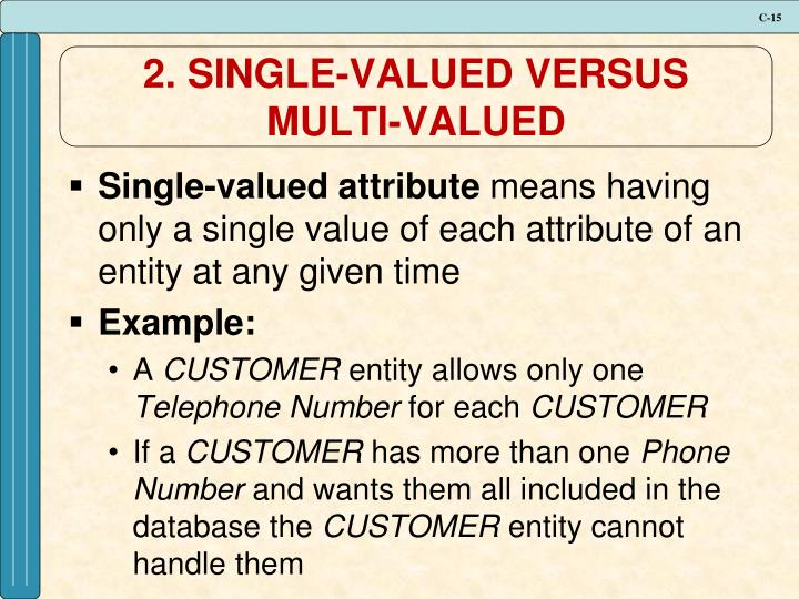 2. SINGLE-VALUED VERSUS MULTI-VALUED