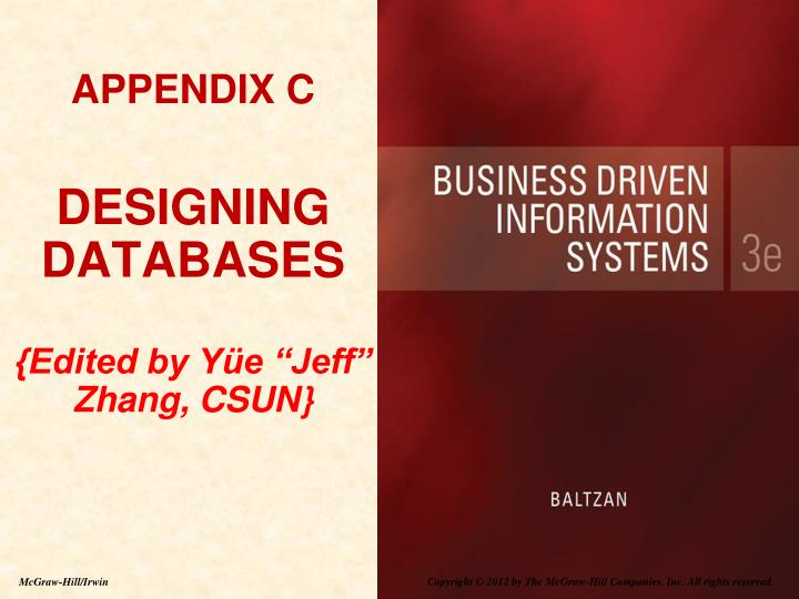 Appendix c designing databases edited by y e jeff zhang csun