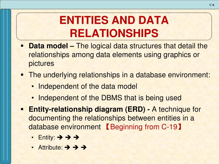 ENTITIES AND DATA RELATIONSHIPS