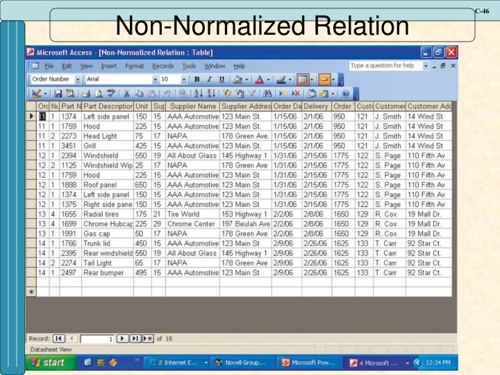 Non-Normalized Relation