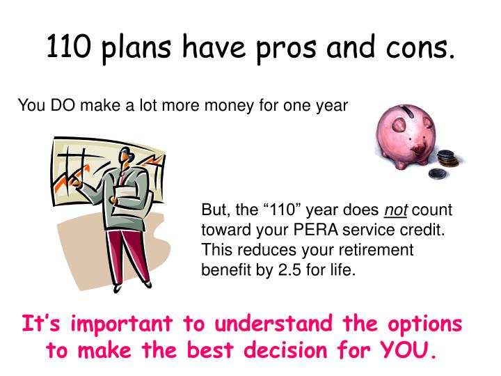 110 plans have pros and cons.