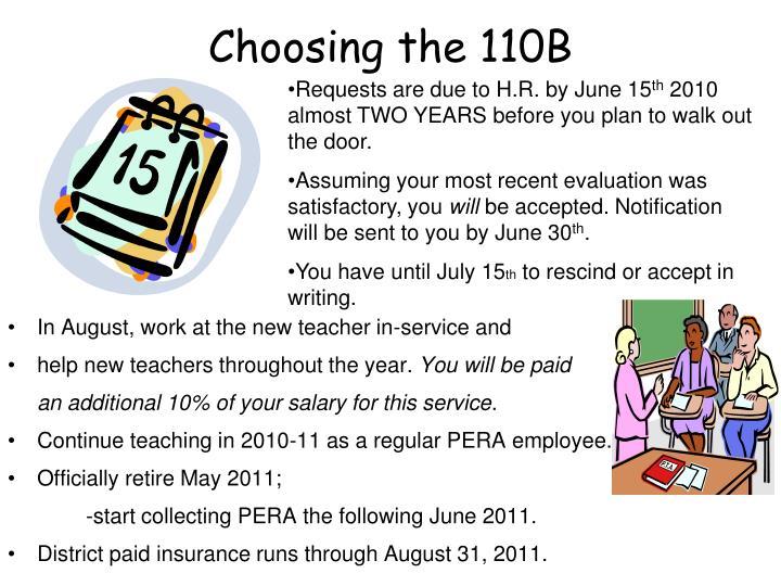 Choosing the 110B