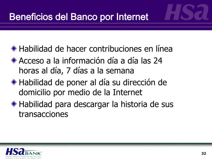 Beneficios del Banco por Internet