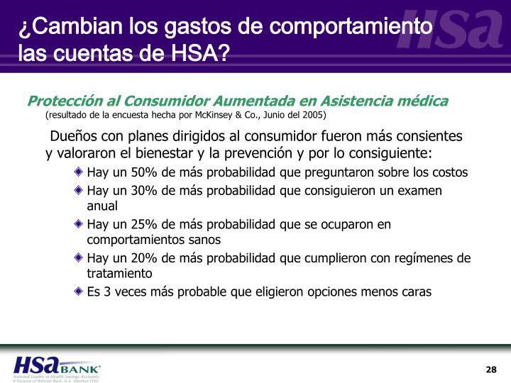 ¿Cambian los gastos de comportamiento las cuentas de HSA?