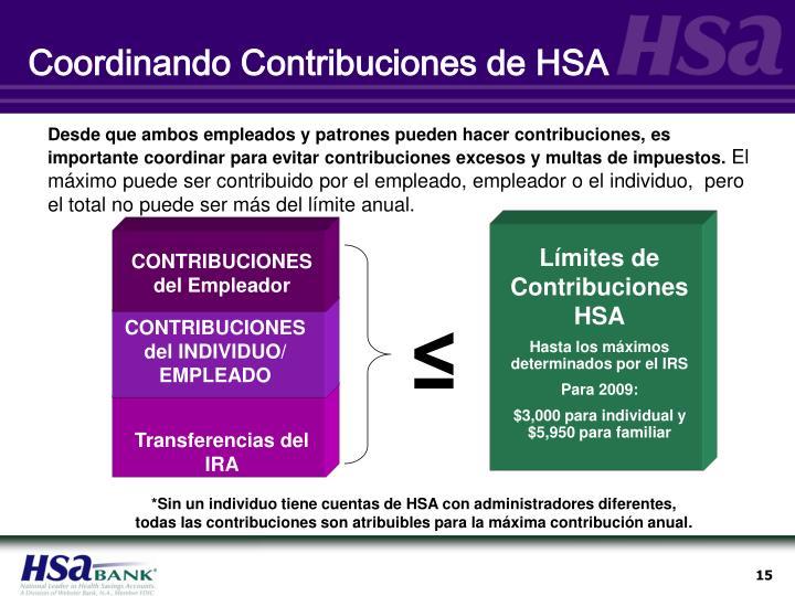 Coordinando Contribuciones de HSA
