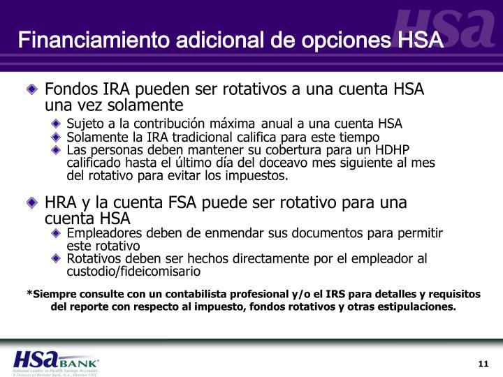 Financiamiento adicional de opciones HSA