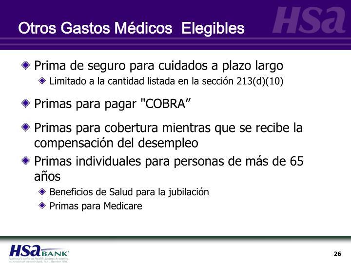 Otros Gastos Médicos  Elegibles
