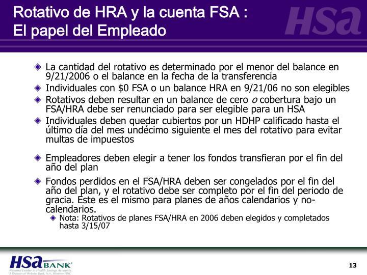 Rotativo de HRA y la cuenta FSA :