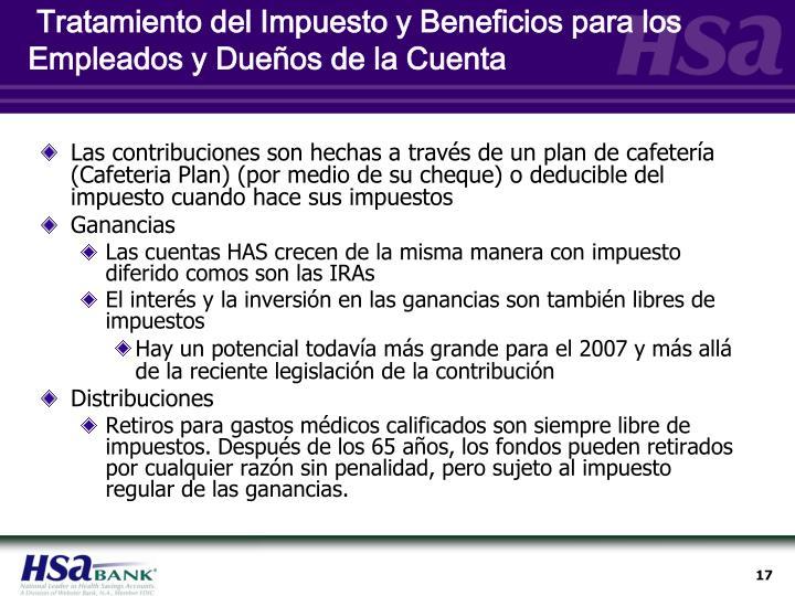 Tratamiento del Impuesto y Beneficios para los Empleados y Dueños de la Cuenta