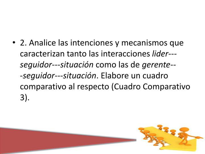 2. Analice las intenciones y mecanismos que caracterizan tanto las interacciones