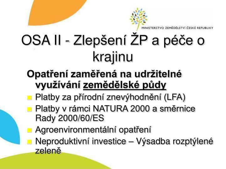 OSA II - Zlepšení ŽP a péče o krajinu